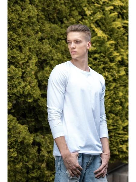 Pánske tričko z organickej bavlny okrúhly výstrih dlhý rukáv