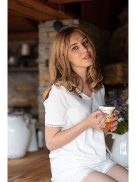Dámske krátke pyžamo z organickej bavlny s krajkou