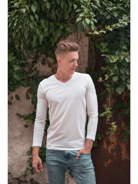 Pánske tričko z organickej bavlny výstrih V dlhý rukáv